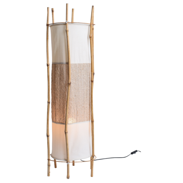 Louis Sognot Bamboo and rattan floor light