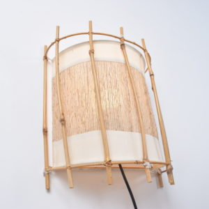 Set of two Louis Sognot bamboo and rattan wall lights sold