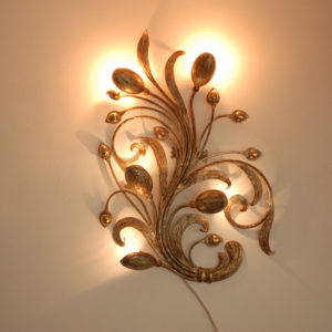 2x Brass/ metal flower wall lights 60's
