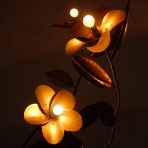Copper flower floor light