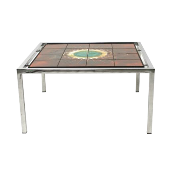 Square tiled coffee table by Juliette Belarti
