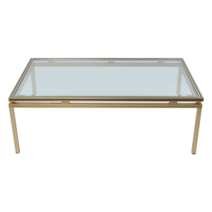 Pierre Vandel gold plated Glass Coffee table SOLD