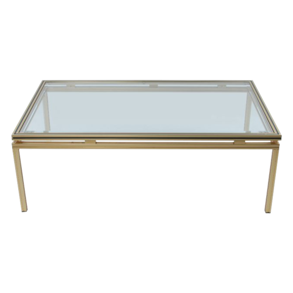 Pierre Vandel gold plated Glass Coffee table