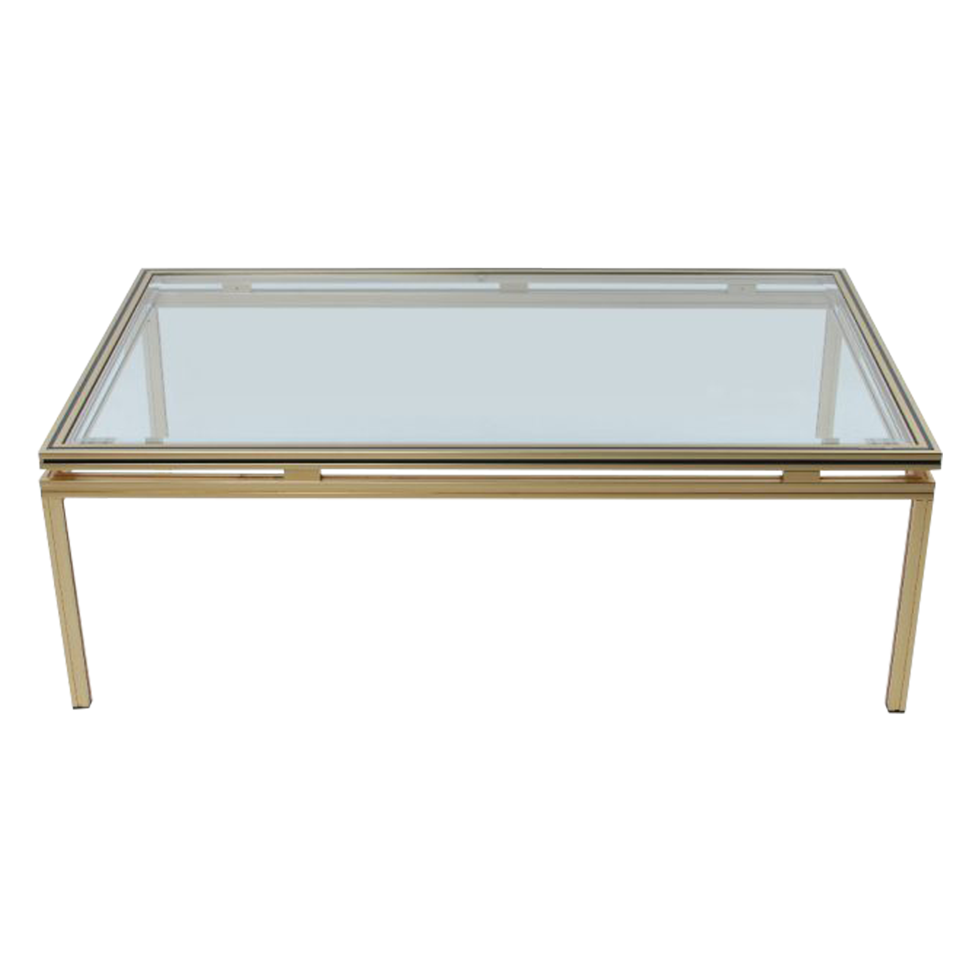 Gold Plated Coffee Table: Pierre Vandel Gold Plated Glass Coffee Table