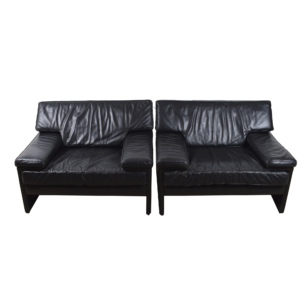 Black leather Easy chairs by Artifort  SOLD