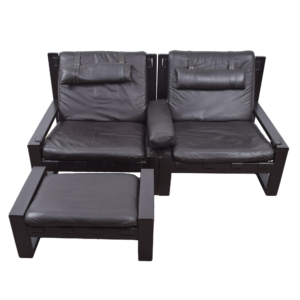 Brutalist lounge chairs with ottoman by Sonja Wasseur (set)