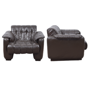 Brown Leather easy chair (set)