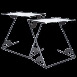 Glass side tables by Maroeska Metz