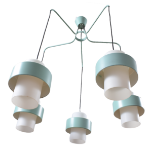 7x White-teal pendant light