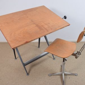 Reply drawing table and stool set by Friso Kramer