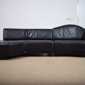 Black leather sofa ON HOLD
