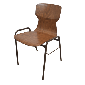 10x Brown industrial school chair by Eromes