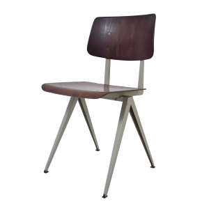 4x Model S16 industrial chair by Galvanitas (Brown- Grey)
