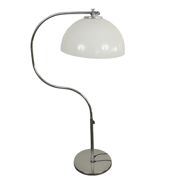 Mid-Century Chrome Arc Floor Lamp (White)