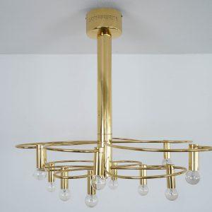 Gold plated ceiling light by Gaetano Sciolari