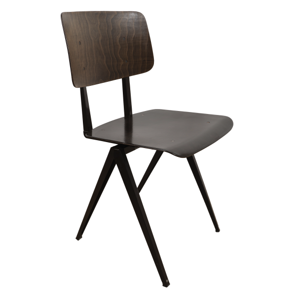 4x Model S16 Industrial chair by Galvanitas (Brown - Brown)