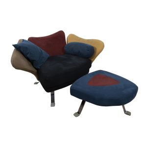 Flower chair with ottoman by Giorgio Saporiti