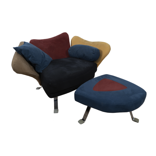 Flower chair with ottoman by Giorgio Saporiti SOLD